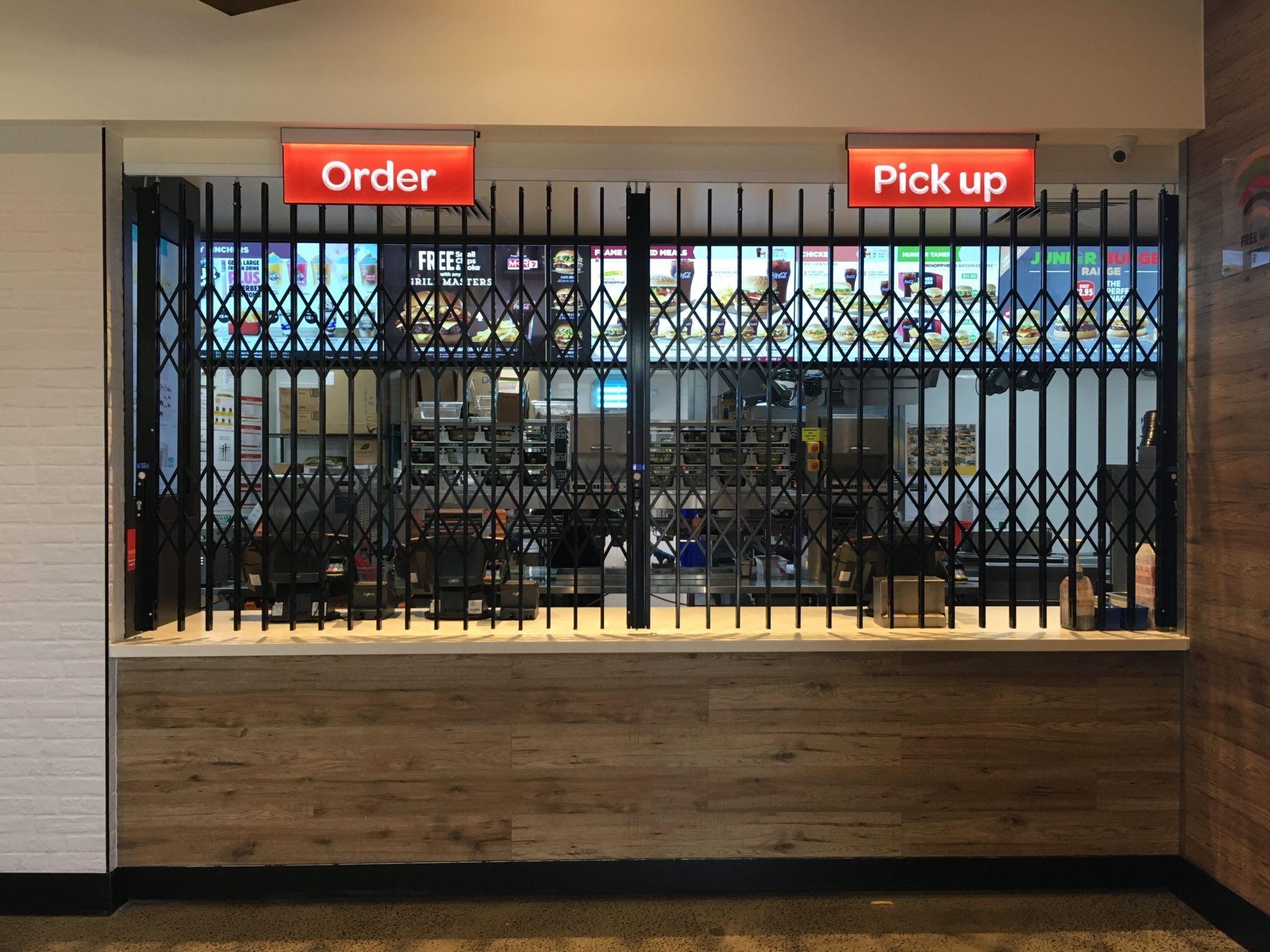 The Australian Trellis Door Company™ has installed security trellis gates for Hungry Jacks in Melbourne & The Australian Trellis Door Company™ has installed security trellis ...