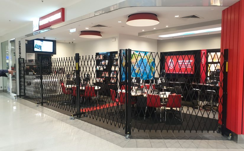 ATDC movable security barriers in Flight Centre tenancy in Townsville, QLD